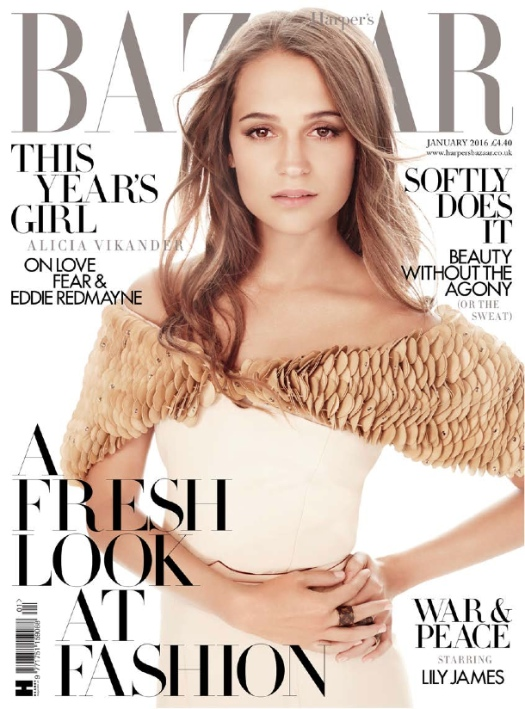 Harper's Bazaar, January 2016 cover_alicia